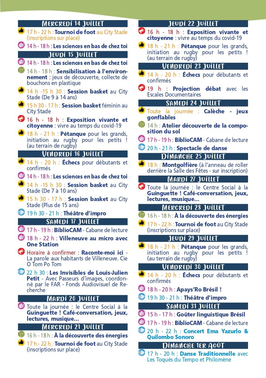 Programme Chez Vous Juillet